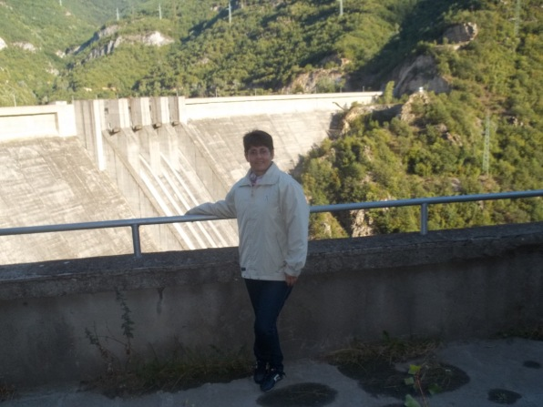 The dam wall is pretty amazing. My mom in the front :)
