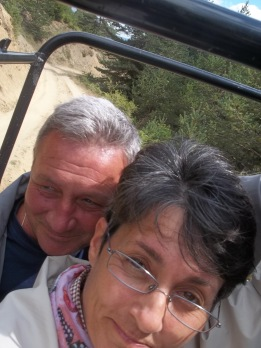Mom and dad holding on for their lives in the jeep :)