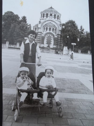 Grandma taking me (left) and my cousin for a walk, summer of 1987, I presume