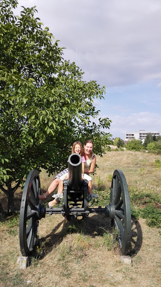 The Panorama is inside a small park. That's a real cannon from the 19th century!
