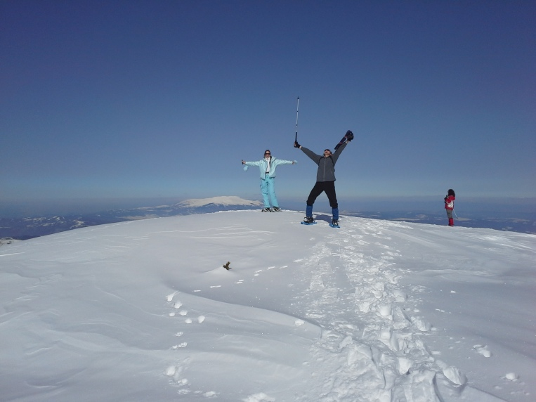 The joy just before reaching the summit of Big Mechit