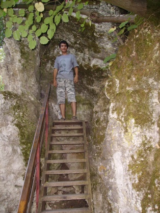 My little brother at the saint's cave