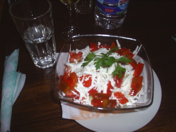 The famous Bulgarian Shopska salad